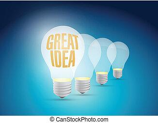bright great idea illustration design over a blue background