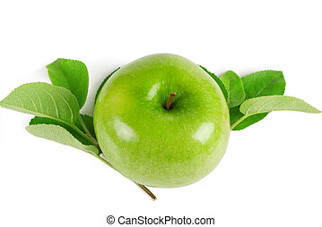 Bright green apple with leaves