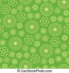Bright green background with abstract flowers.