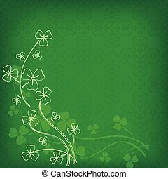bright green background with vintage pattern and clovers for st patrick's day - vector