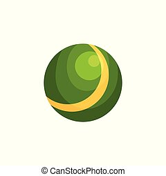 Bright green ball with yellow stripe. Inflatable rubber toy for children's outdoor games. Colorful beach accessory in flat style. Cartoon vector illustration