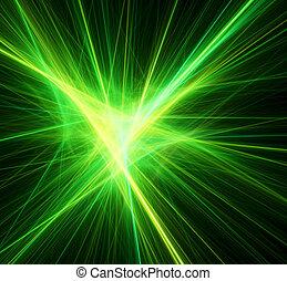 Bright green beams. Digital generated this image