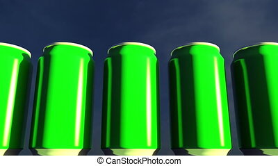 Bright green cans against sky at sunset. Soft drinks or beer for party. Beach bar. 4K seamless loopable dolly clip