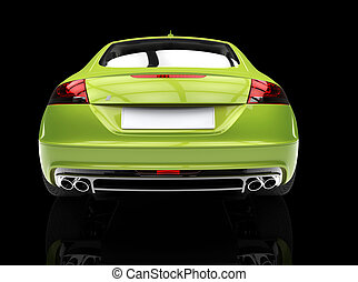 Bright Green Car Back View