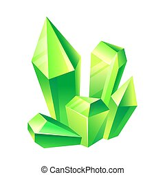 Bright green crystals. Vector illustration on a white background.