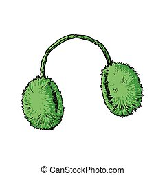 Bright green fluffy fur ear muffs, sketch style vector...