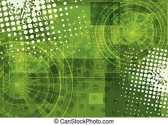 Bright green grunge tech background