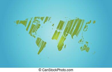 Bright green grunge world map on blue