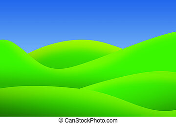 bright green meadows and clear sky in summer - bright green...