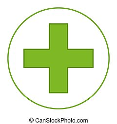 Bright green medical cross symbol