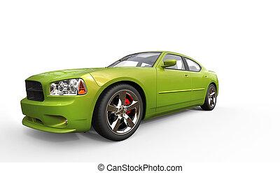 Bright Green Metallic Fast Car
