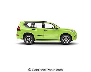 Bright green modern SUV - side view
