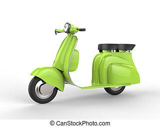 Bright green moped - side view