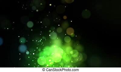 Bright green points coming up against a black background