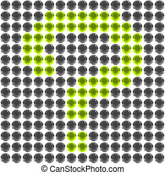 bright green question mark in the field of spheres
