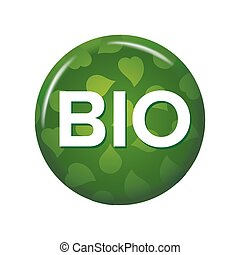 Bright green round button with word 'Bio'.