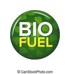 Bright green round button with words 'Bio Fuel'