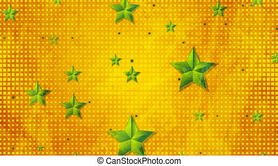 Bright green stars on orange dotted background. Corporate abstract geometric grunge motion design. Video animation Ultra HD 4K 3840x2160