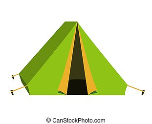 Bright green tourist tent icon. Isolated on white background.