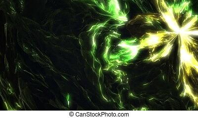 Bright green yellow liquid wavy fractal video animation -...