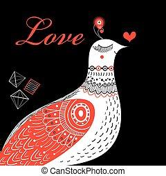 Bright greeting card love birds