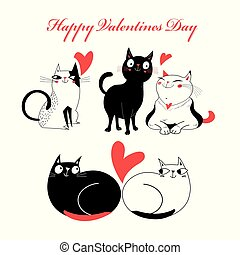 Bright greeting card with cats in love