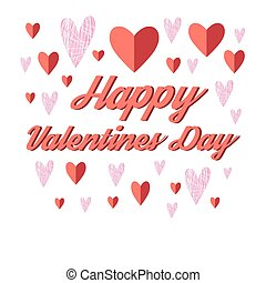Bright greeting card with hearts