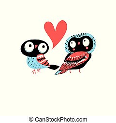 Bright greeting card with owls in love