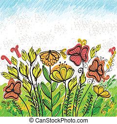 Bright hand drawn greeting card