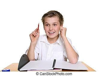Bright happy school boy - Happy school student sitting at...