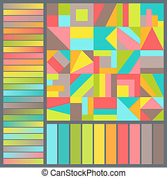 Bright Harmonious Color Palette with Geometric Composition of Colorful Squares.