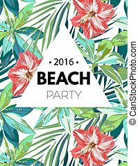 Bright hawaiian design with tropical plants and hibiscus...