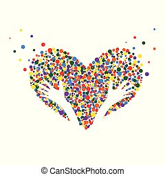 Bright heart and hands. Love, hope, help, care, healing concept. Bubble design.