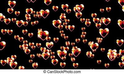 Bright heart bubbles float on black background