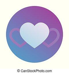 Bright heart in a round icon