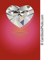 Bright heart silver geometric in red background