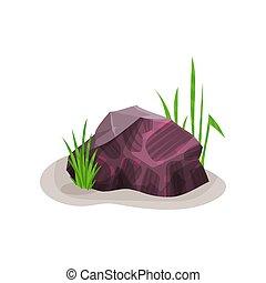 Bright heliotrope mineral rock stone, design element of natural landscape vector Illustration on a white background