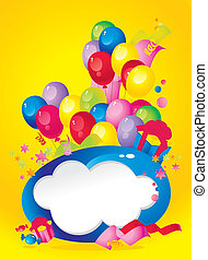 Bright Holiday composition of balloons, gift boxes,...