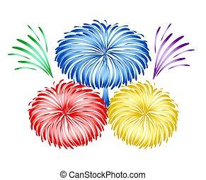 bright holiday firework design, stock vector illustration