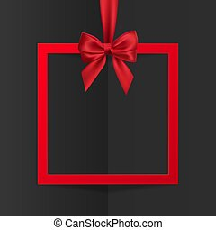 Bright holiday gift box frame banner hanging with red ribbon and silky bow on black background. Vector illustration