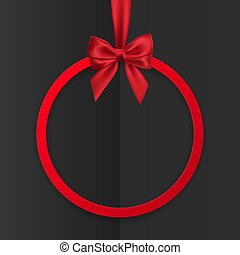 Bright holiday round frame banner hanging with red ribbon and silky bow on black background. Vector illustration