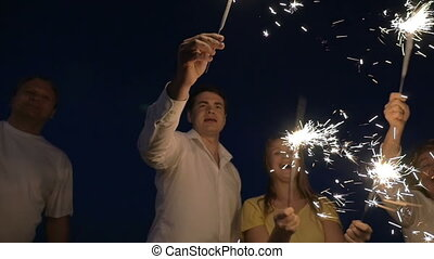 Bright holiday with firework sparklers