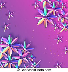 Bright Holographic Flowers. Happy Womens Day. International 8 March. Mothers Day. Modern Paper cut Futuristic Floral Greetings card. Spring blossom decor on purple .Text. Holidays
