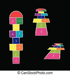 Bright hopscotch template. Vector illustration. hopscotch on the coloured background