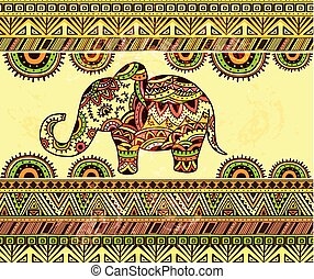 Bright horizontal ethnic pattern with elephant