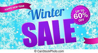 Bright horizontal Sale flyer on light blue background with snowflakes.