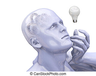 Bright idea - 3D render of a man holding a light bulb with...