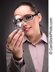 Bright idea concept with woman businesswoman