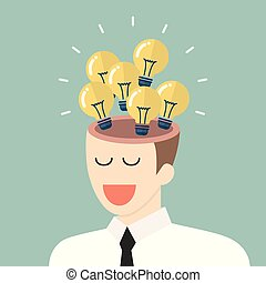 Bright idea from businessman head