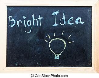 """""""Bright Idea"""" words on Black Board."""